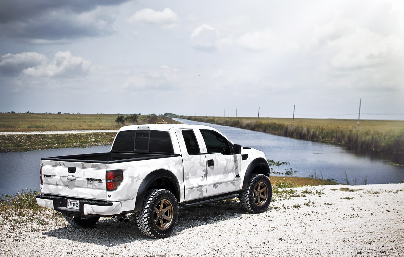 Photo wallpaper white, the sky, clouds, Ford, white, river, Ford, Raptor, pickup, Raptor, F-150, SVT, camouflage pattern