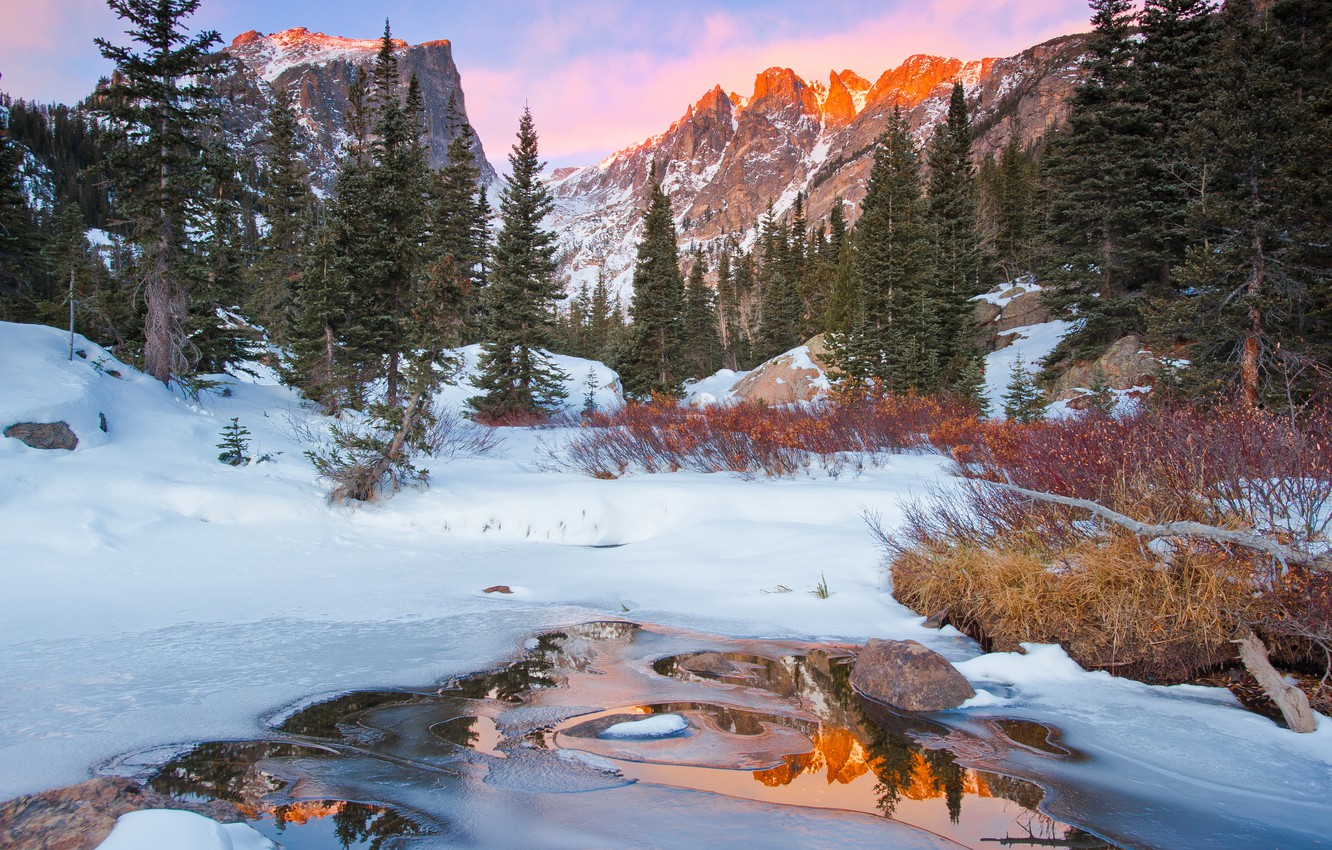 Photo wallpaper winter, forest, mountains, nature, river