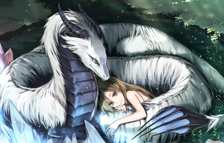 Photo wallpaper white, love, dragon, protection, girl, beautiful, Dragon love