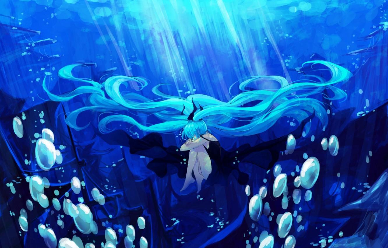 Photo wallpaper girl, light, bubbles, the ocean, hair, ship, art, vocaloid, hatsune miku, under water, Vocaloid, lyrah777