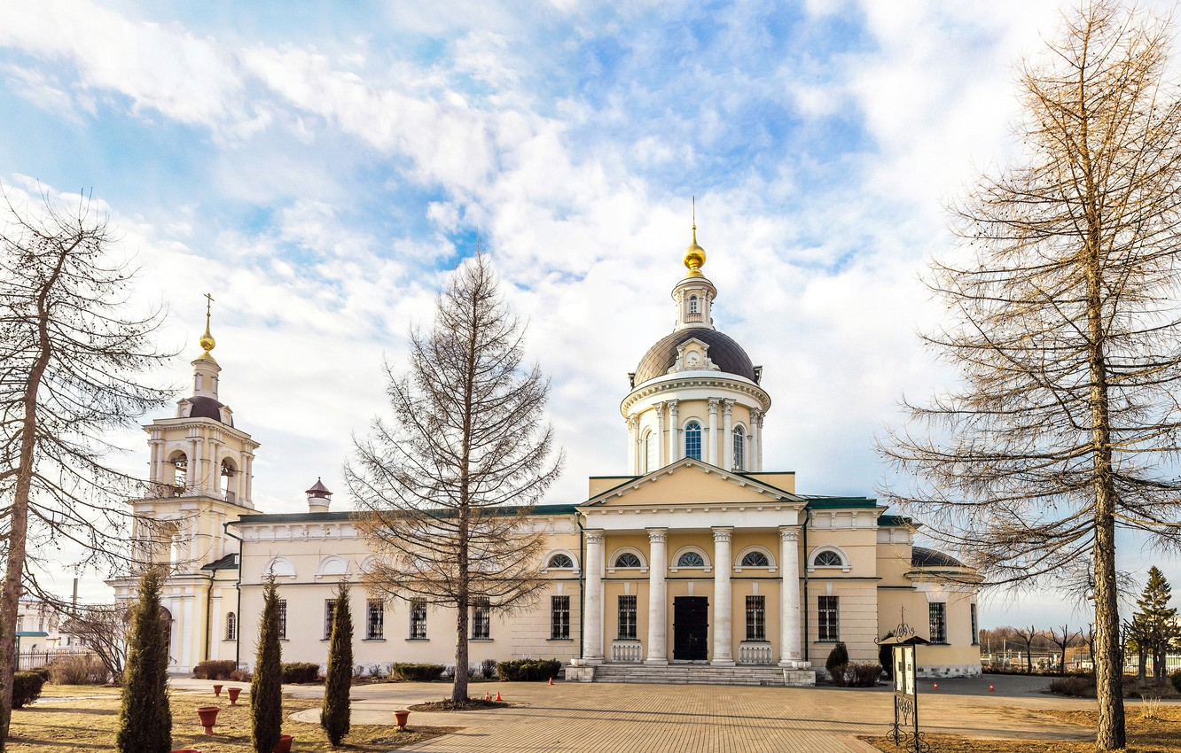 Photo wallpaper trees, the city, the building, Church, panorama, Cathedral, temple, architecture, Kolomna