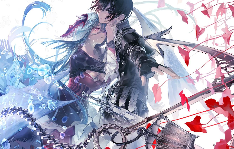 Photo wallpaper girl, weapons, sword, anime, art, guy, two, ukai saki, aikawa kanami, isekai meikyuu no saishinbu …