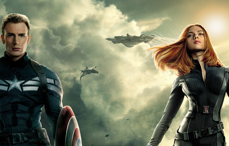 Wallpaper Scarlett Johansson, Girl, Action, Red, Men, Guns