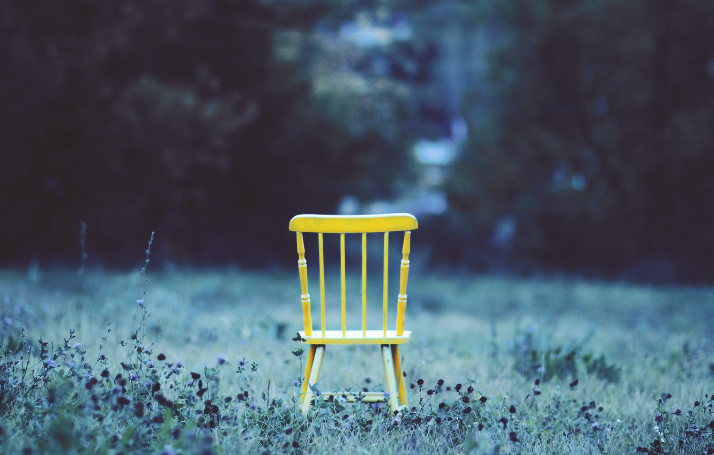 Photo wallpaper grass, yard, chair