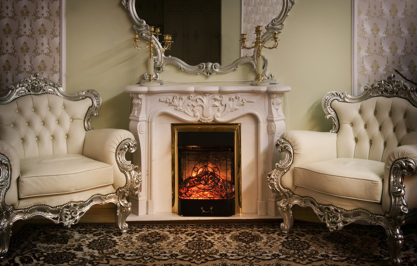 Photo wallpaper style, interior, carpet, mirror, chairs, fireplace