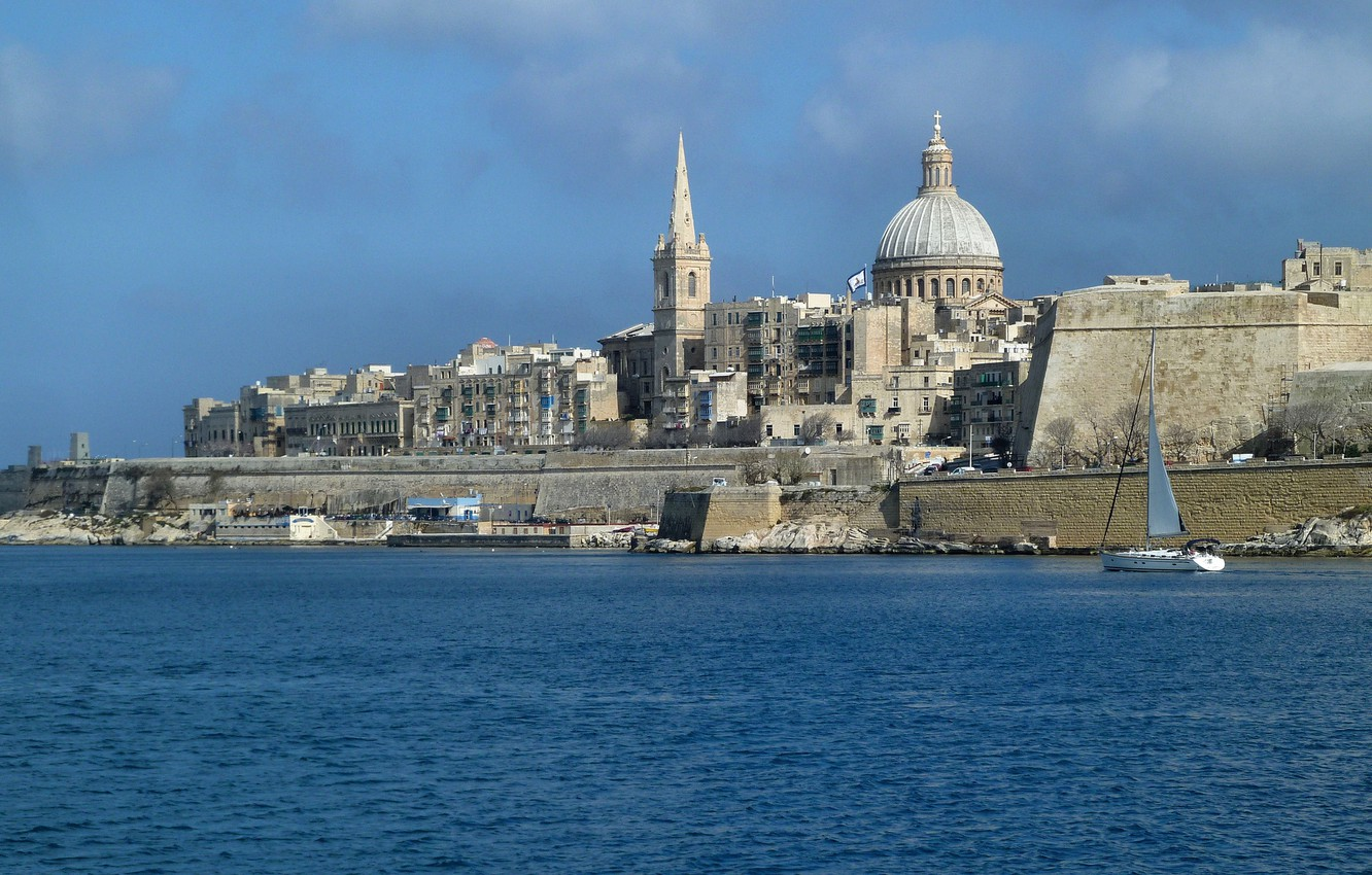 Photo wallpaper sea, the sky, home, the dome, Malta, Valletta