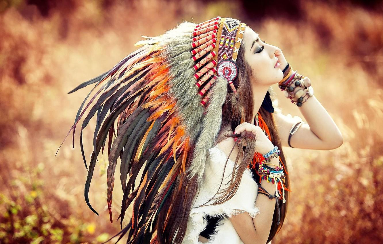 Photo wallpaper Girl, Autumn, Feathers, Face, Bracelet, Indian, Headdress