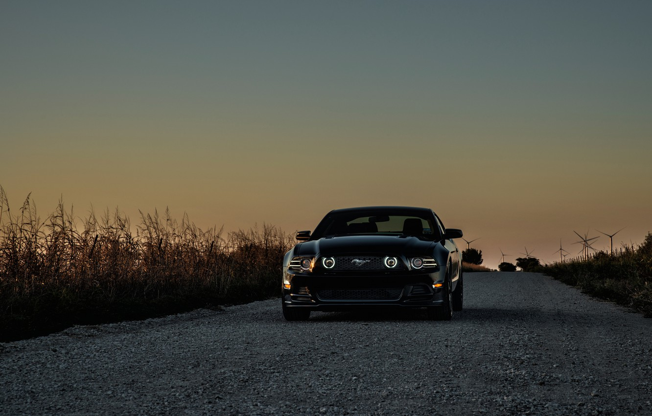 Photo wallpaper mustang, Mustang, ford, black, Ford black, wind turbines
