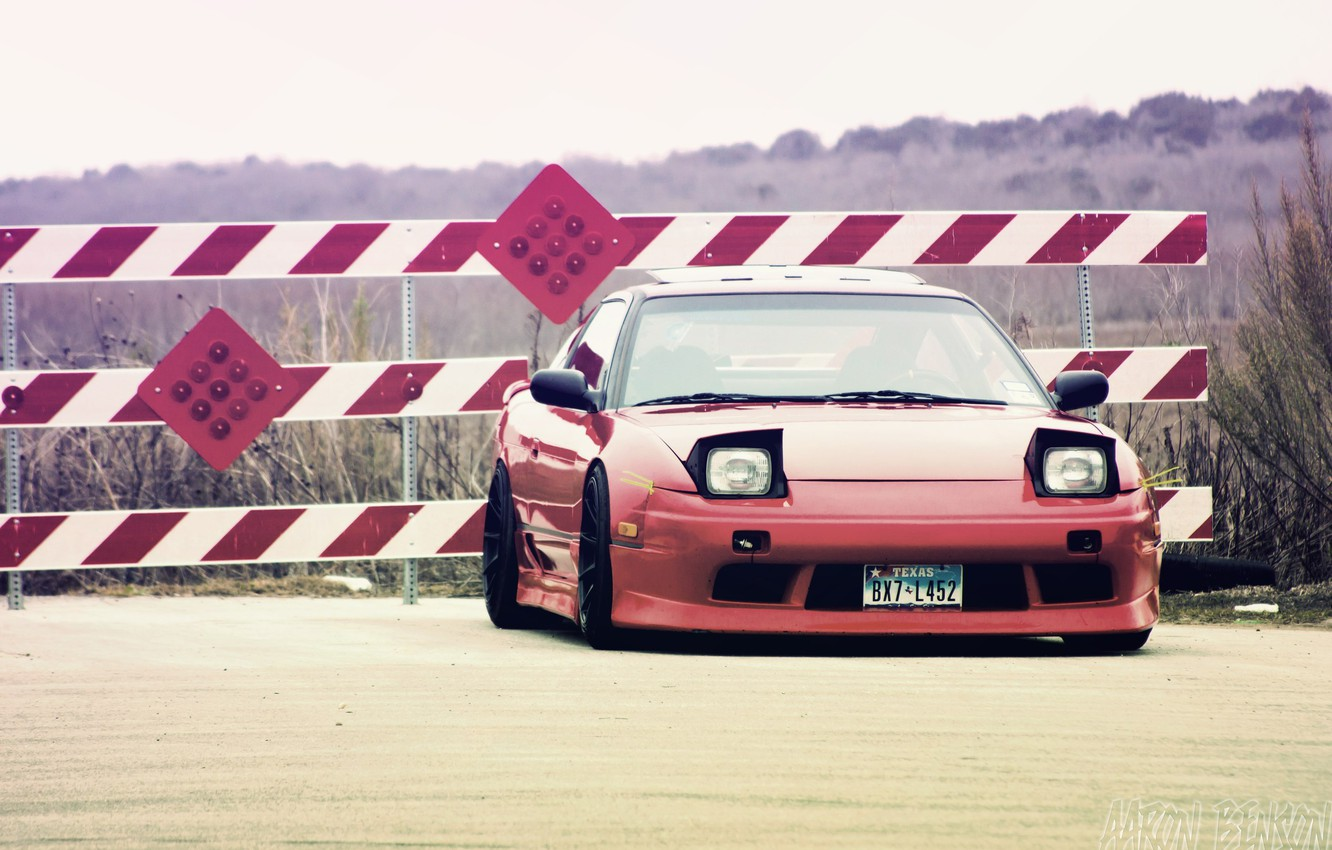 Photo wallpaper red, Nissan, 240sx, low