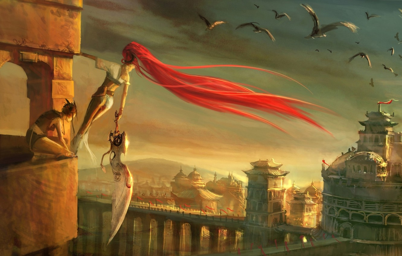 Wallpaper Girl Birds The City Height Sword Heavenly Sword
