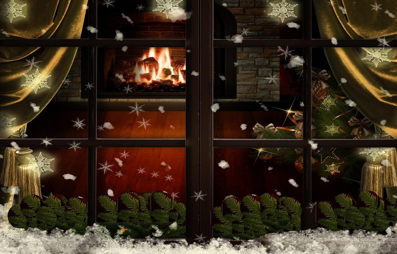 Photo wallpaper snowflakes, tree, Christmas, window, fireplace