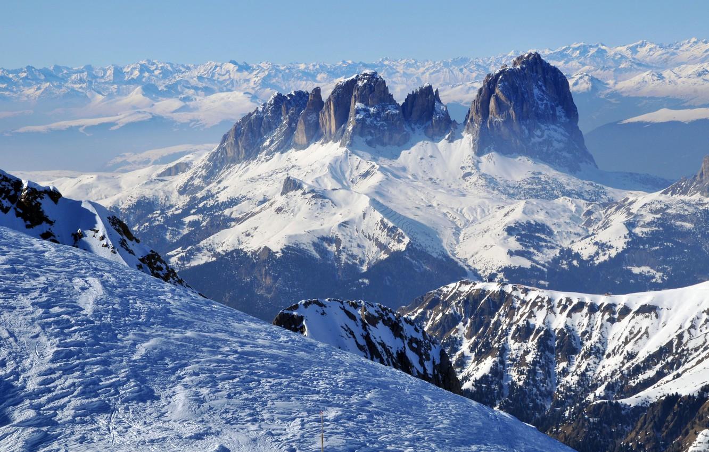 Photo wallpaper snow, landscape, mountains, slope, horizon, panorama, Snow mountains, winter scenery