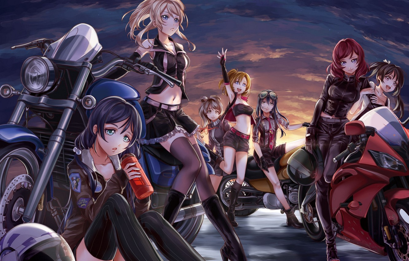 Wallpaper The Sky Clouds Sunset Smile Girls Motorcycles Anime