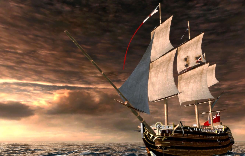 Photo wallpaper sea, wave, graphics, ship, sailboat, sails, mast