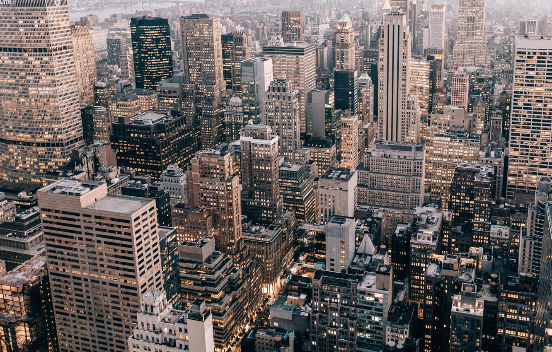Photo wallpaper the city, lights, home, USA, New York