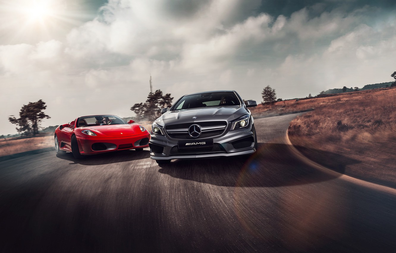 Photo wallpaper Mercedes-Benz, F430, Ferrari, Red, AMG, Grey, Supercars, Colors, CLA 45, Skid, Drifting