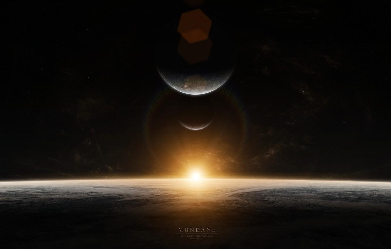 Photo wallpaper stars, sunrise, planet, sunrise, mundane