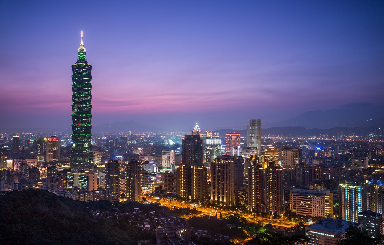 Photo wallpaper the sky, night, the city, lights, view, building, tower, height, home, lighting, panorama, China, Taiwan, …