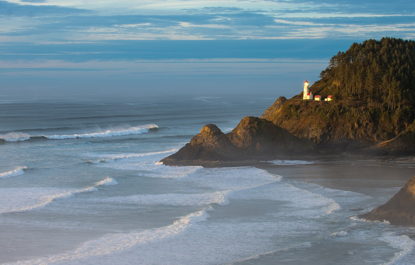 Photo wallpaper sea, wave, the sky, clouds, trees, rock, lighthouse, surf