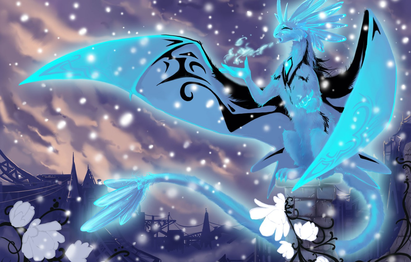 Photo wallpaper cold, snow, element, dragon, ice, fantasy, crystals