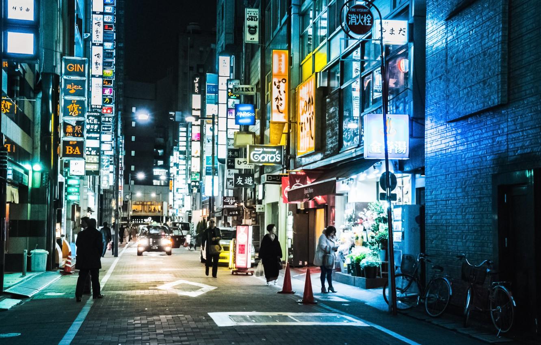 Wallpaper Tokyo Japan Street People Neon Cityscape