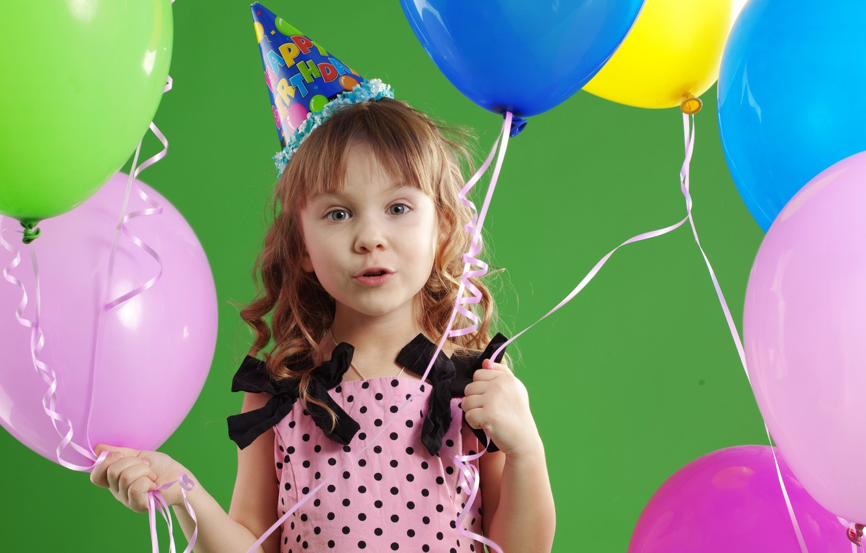 Photo wallpaper joy, children, balloons, Happy Birthday, children, joy, balloons, beautiful happy little girl, beautiful happy little …