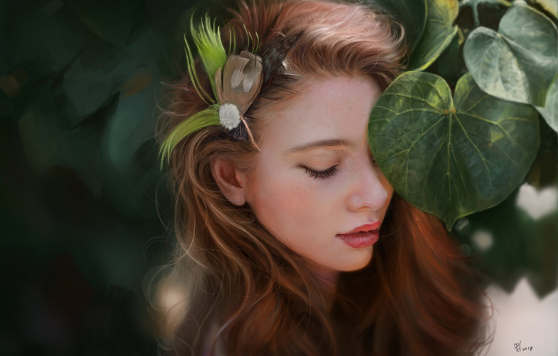 Photo wallpaper leaves, girl, face, foliage, feathers, art, barrette