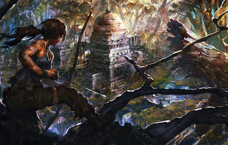 Photo wallpaper girl, game, art, lara croft, tomb raider, upscale, danciao