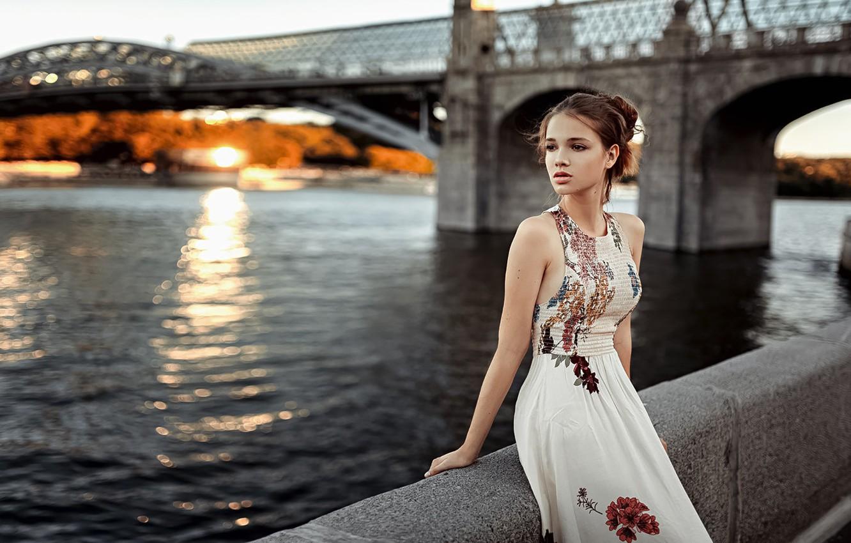 Photo wallpaper Girl, Look, Promenade, Dress, Anna A Dozen