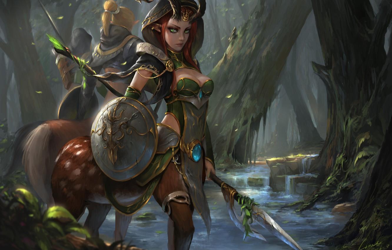 Photo wallpaper forest, look, girl, trees, weapons, art, shield, fantasy, centaur