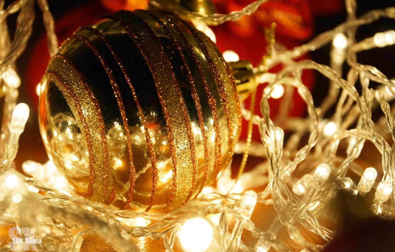 Photo wallpaper holiday, new year, ball, garland