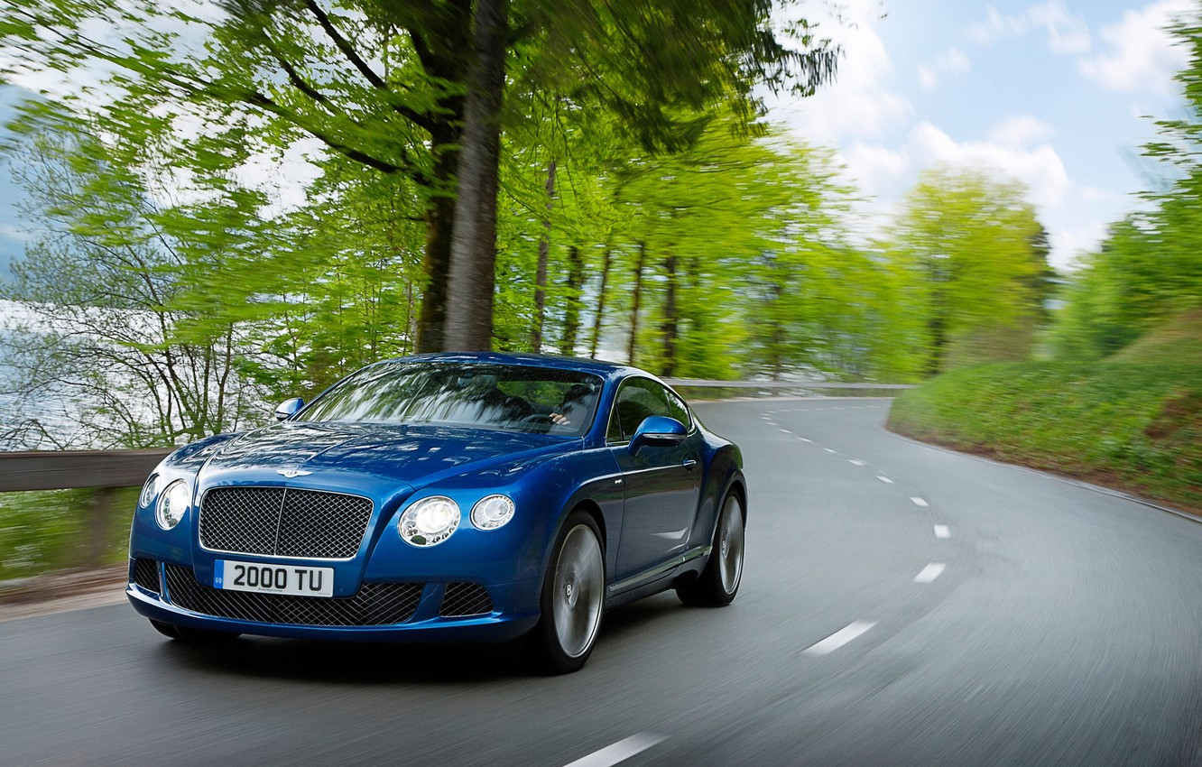 Photo wallpaper Auto, Bentley, Continental, Road, Blue, The hood, Day, Coupe, The front