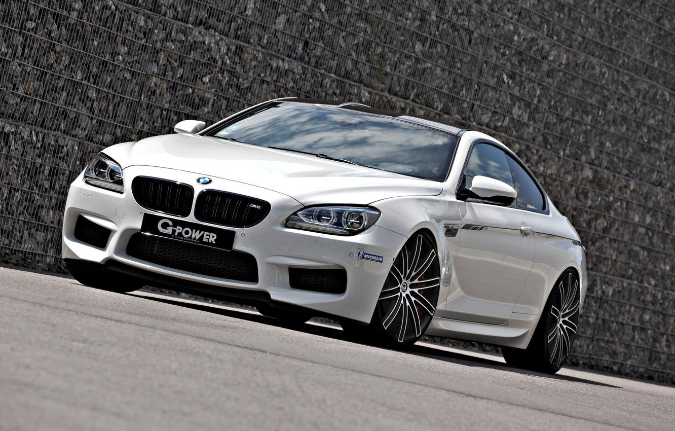 Photo wallpaper BMW, white, tuning, coupe, front, g-power, f13