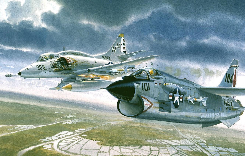 Photo wallpaper fire, fire, pair, Vietnam, lined, LTV A-7 Corsair II, Douglas A-4 Skyhawk