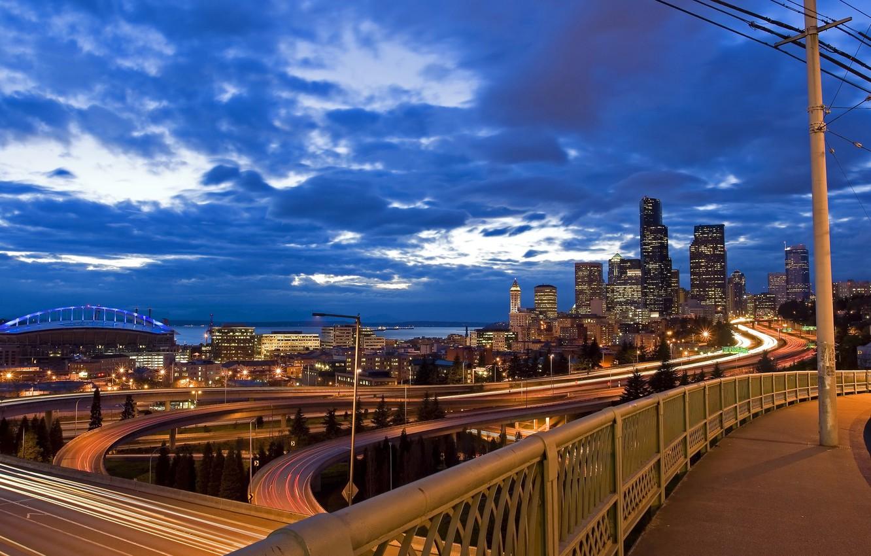Photo wallpaper road, night, city