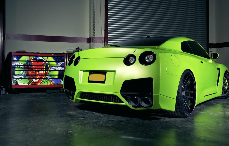 Photo wallpaper green, tuning, garage, Matt, Nissan, GT-R, green, devil