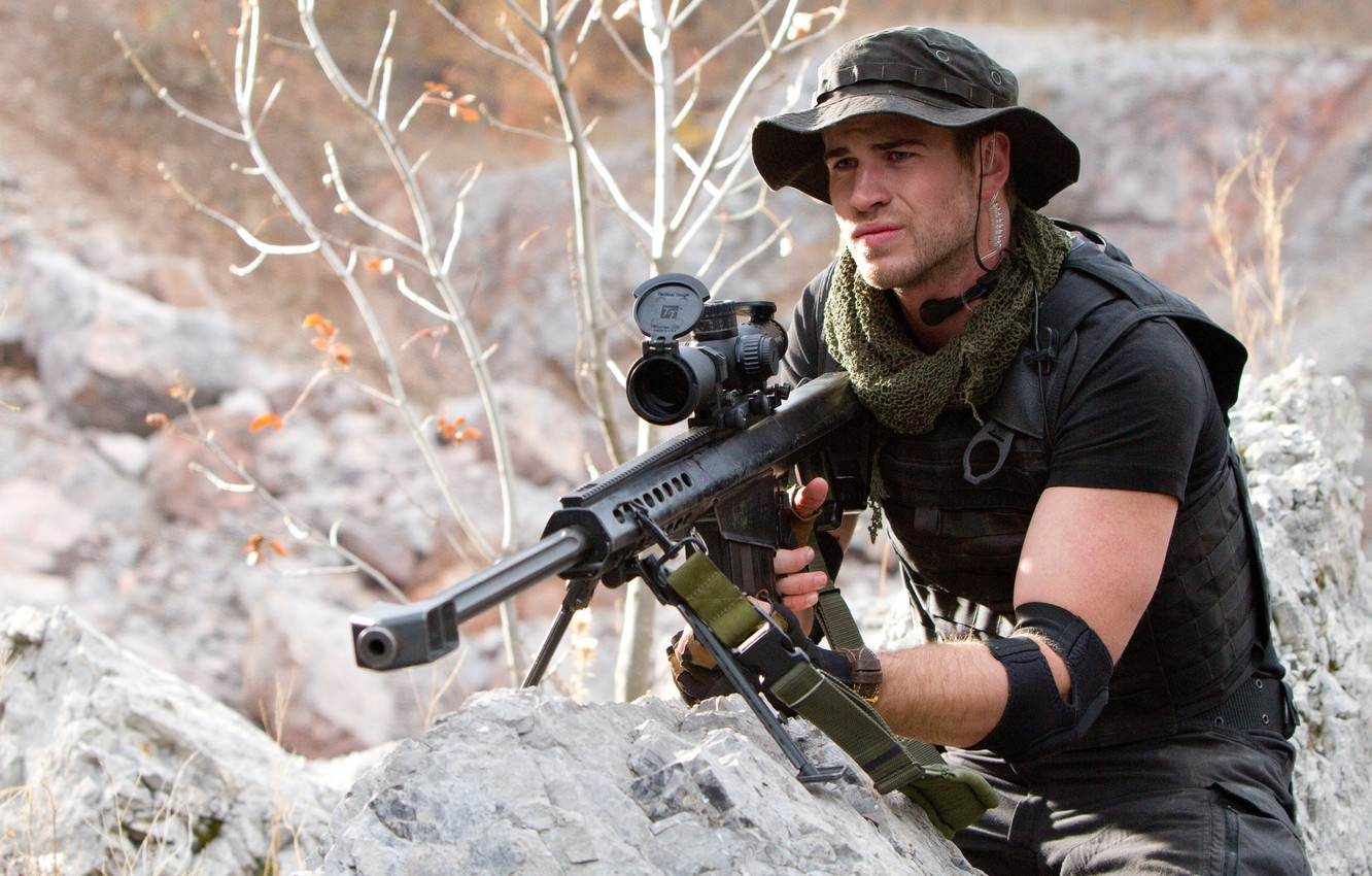 Photo wallpaper stones, weapons, optics, sniper, rifle, Panama, The Expendables 2, The expendables 2, Liam Hemsworth, Billy, …