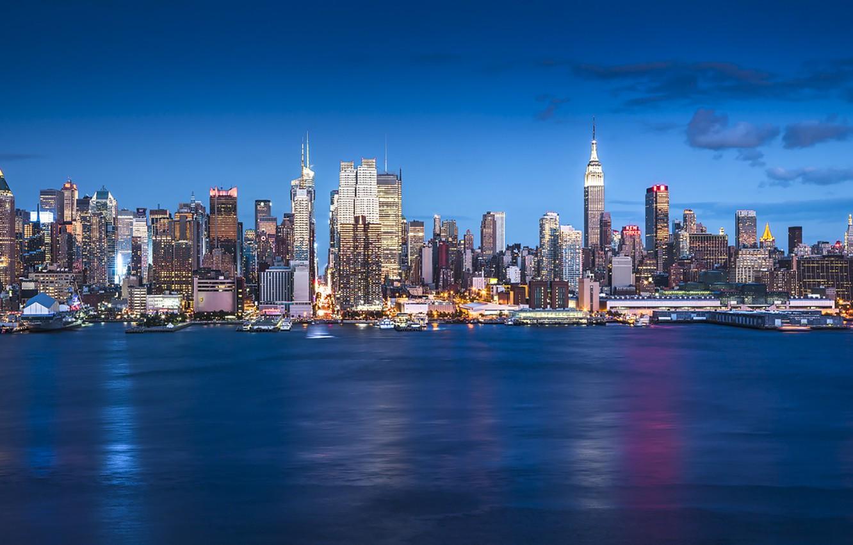 Photo wallpaper United States, New York, Manhattan, skyscrapers, blue hour, cityscape