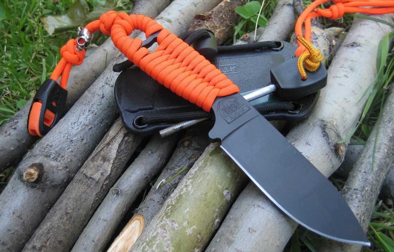 Photo wallpaper orange, black, knife, cord, blade, sheath