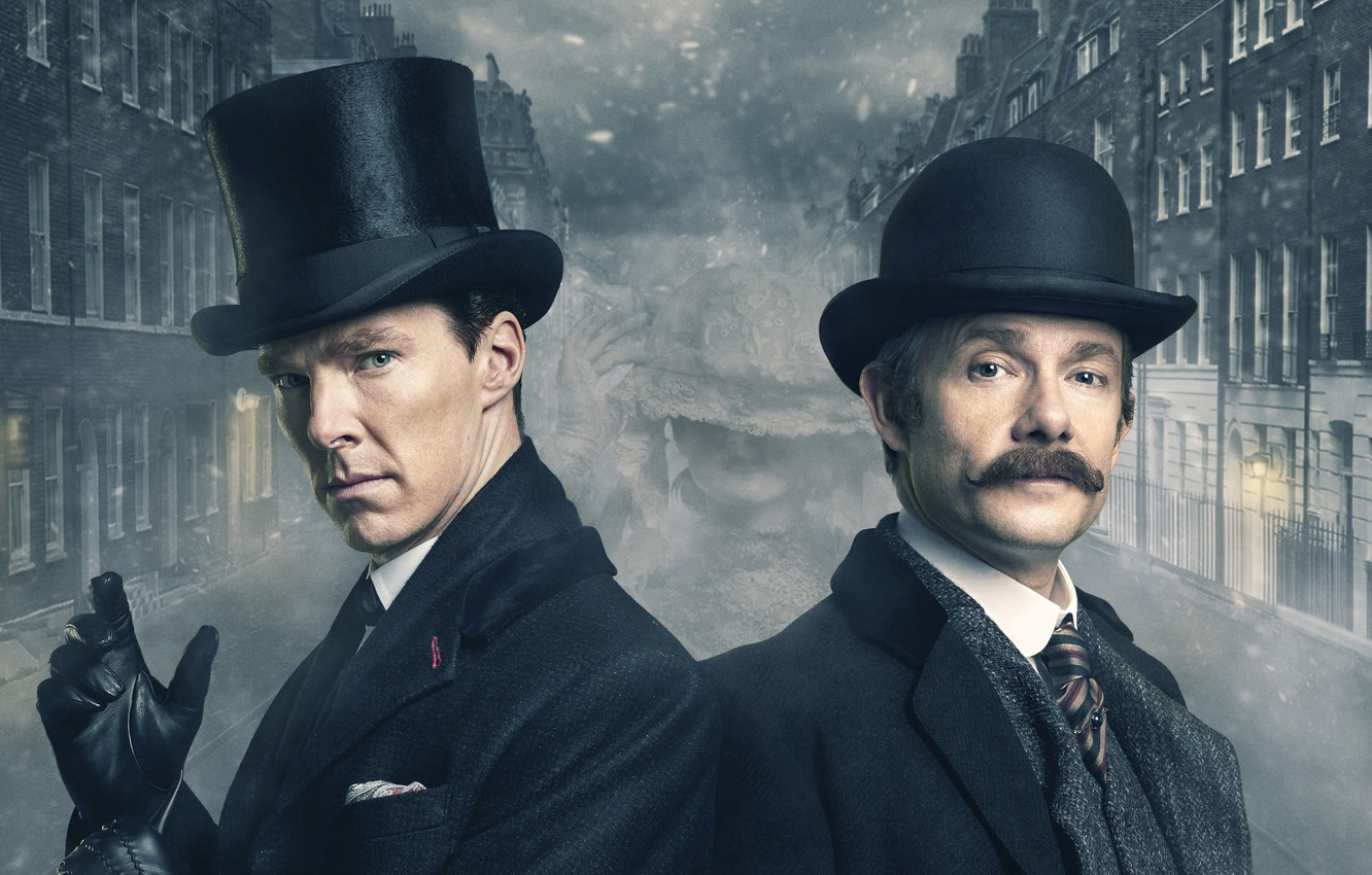 Photo wallpaper Men, London, England, Emilia, Martin Freeman, BBC, Holmes, Benedict Cumberbatch, Watson, John Watson, TV Series, ...