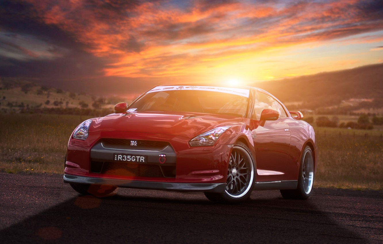 Photo wallpaper the sun, sunset, red, red, Nissan, GT-R, Blik, Nissan, front, R35