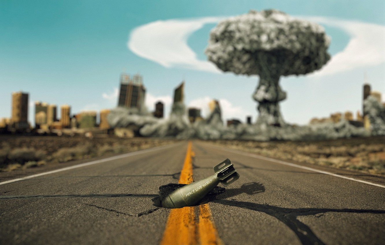 Photo wallpaper road, the explosion, the city, cracked, war, mushroom, world, hole, destruction, pit, love, peace, nuclear, …