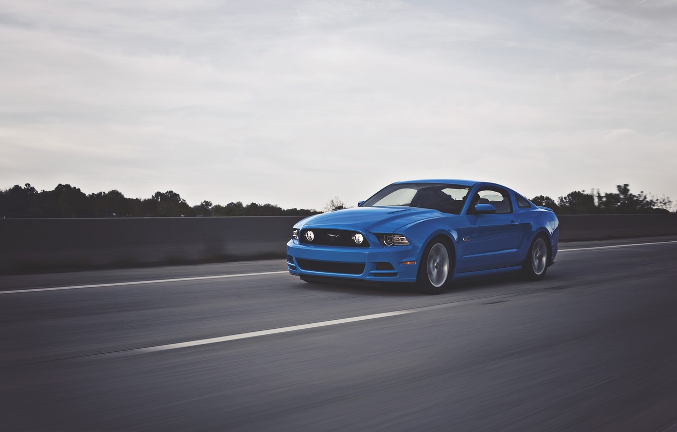 Photo wallpaper Mustang, Ford, Road, Speed, Ass, Ford, Muscle, Mustang, Car, Blue, Speed, Front, 5.0, Before, Road, …