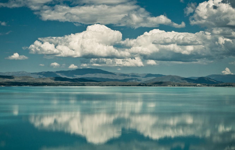 Photo wallpaper clouds, mountains, lake, reflection