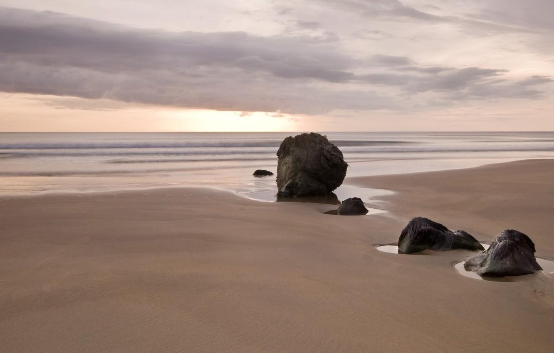 Photo wallpaper sand, sea, clouds, sunset, stones, minimalism, puddles