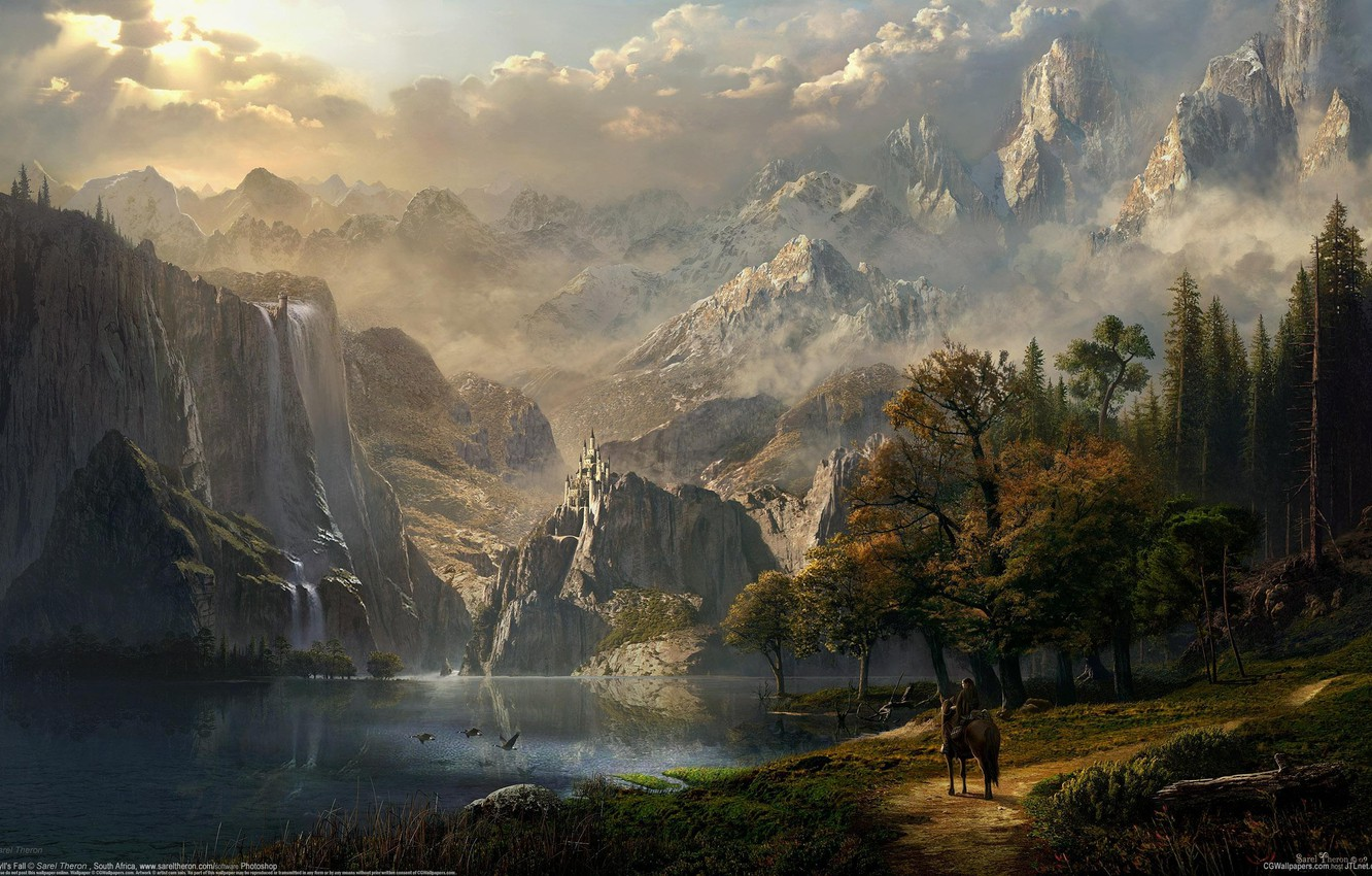 Photo wallpaper forest, girl, mountains, lake, castle, horse, elf, waterfall, rider, fantasy, art, fantasy, CG wallpapers, Idyll's …