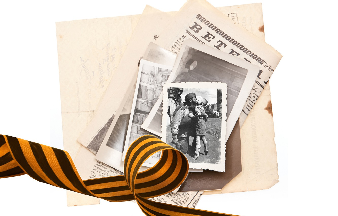 Photo wallpaper memory, photo, holiday, meeting, child, soldiers, victory day, newspaper, May 9, ribbon, George ribbon