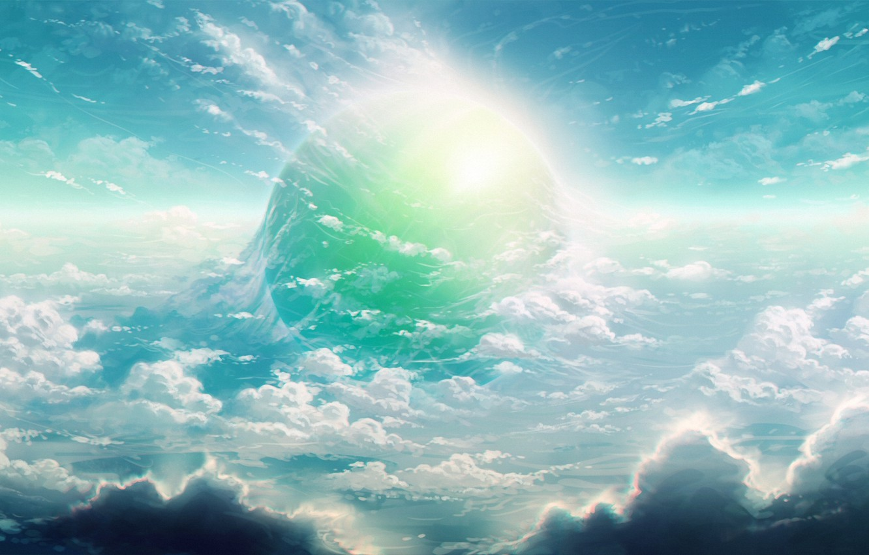 Photo wallpaper the sky, planet, glow, art