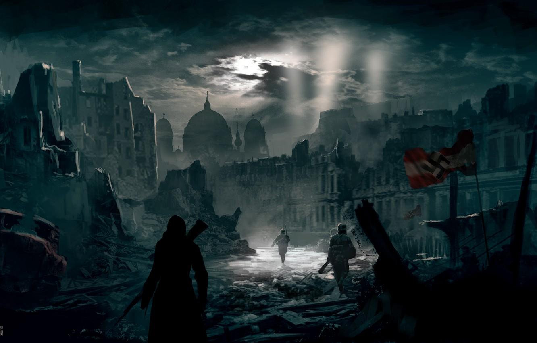 Photo wallpaper night, the city, Berlin, assassin, Assassin's Creed Berlin WW2
