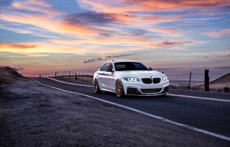 Photo wallpaper BMW, Car, Front, Sunset, White, Sunrise, Mountains, Road, Wheels, Before, M235i, Garde, San Jose